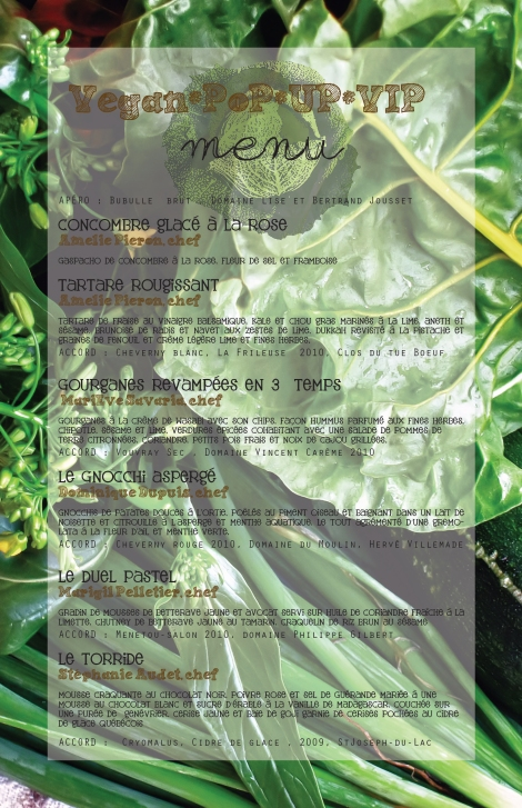 Menu premier Pur Pop Up - 8 juillet 2012